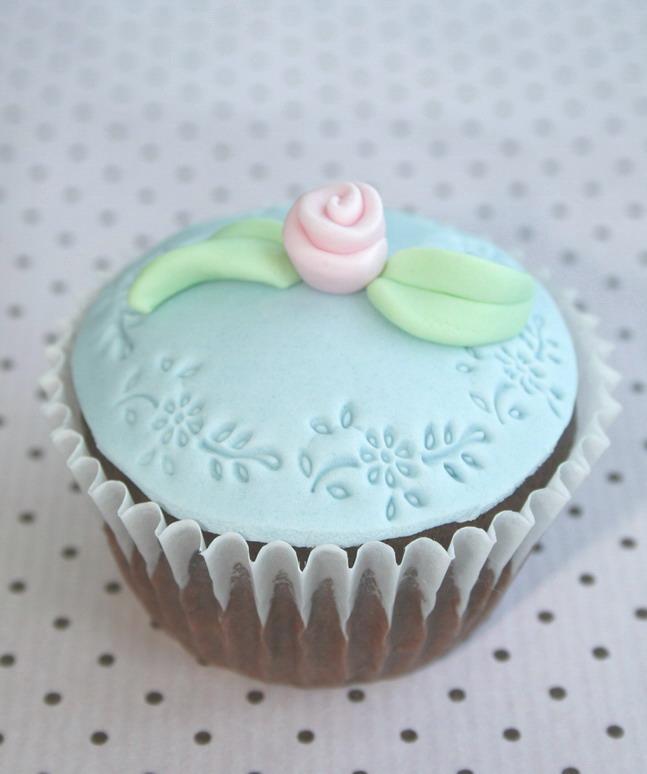 Embossed blue cupcake