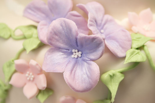 Hydrangea gum paste flowers close up