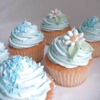 Blue cupcakes with sprinkles