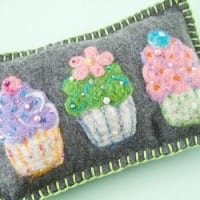 Needle-felt cupcake pillow
