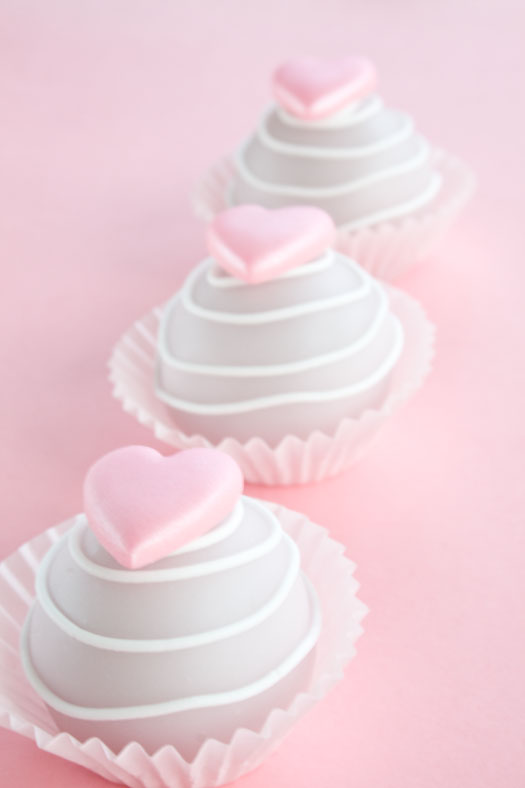 Valentine cake bites with poured fondant icing