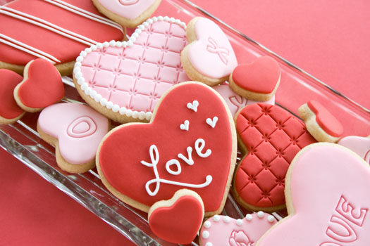 Valentine heart cookies iced with rolled fondant