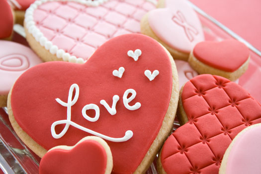Valentine heart embossed cookies