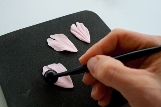 Ball tool on gum paste peony petals