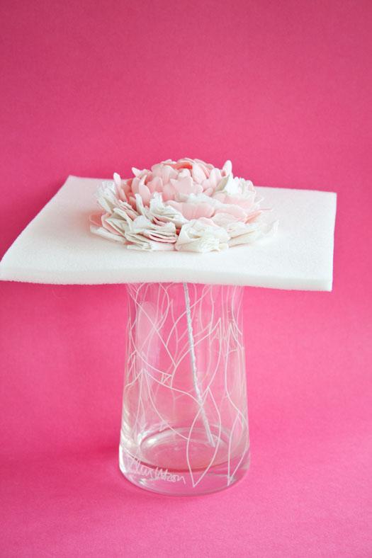 Gum paste peony drying