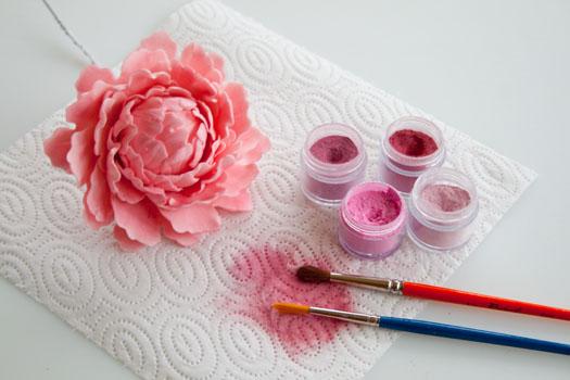 Coloring gum paste peony