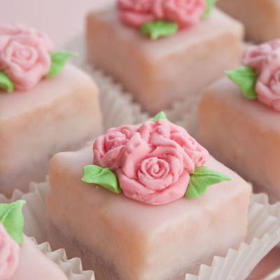 Petit Fours decorated with fondant roses