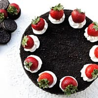 chocolate oreo cake with fresh strawberries