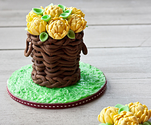 modeling chocolate basket with flowers
