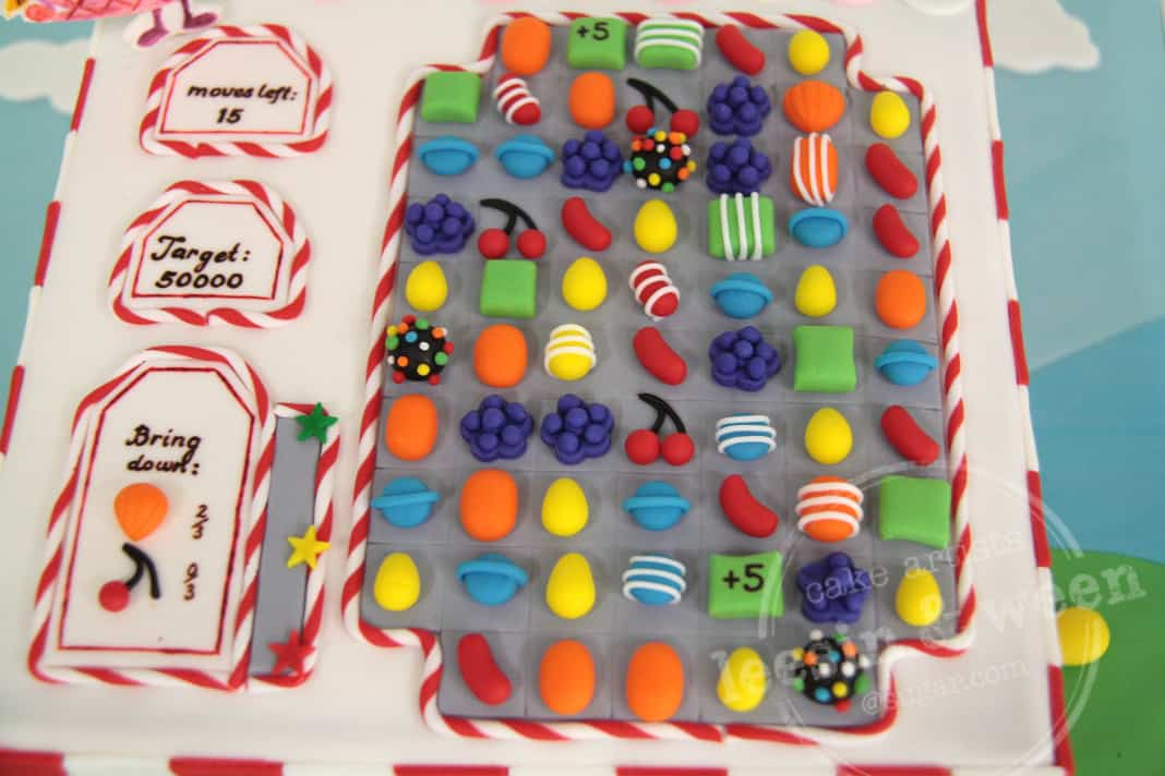 top view of candy crush cake
