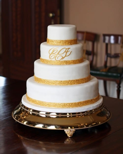 Gold Embossed Monogram Wedding Cake