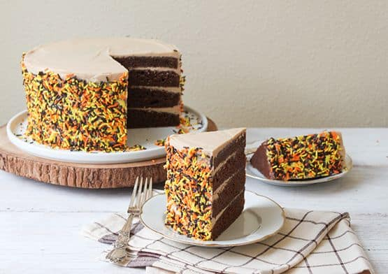 Chocolate Layer Cake with Whipped Salted Caramel Frosting