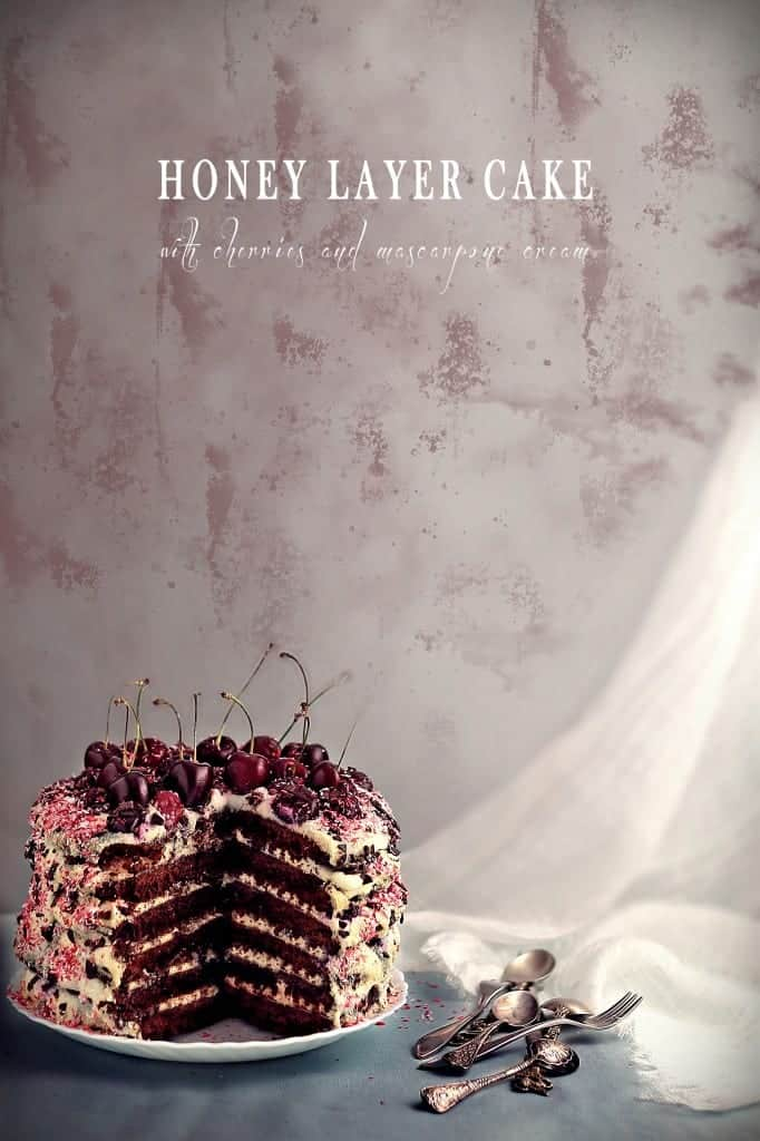 Honey Layer Cake with Cherries and Mascarpone Cream