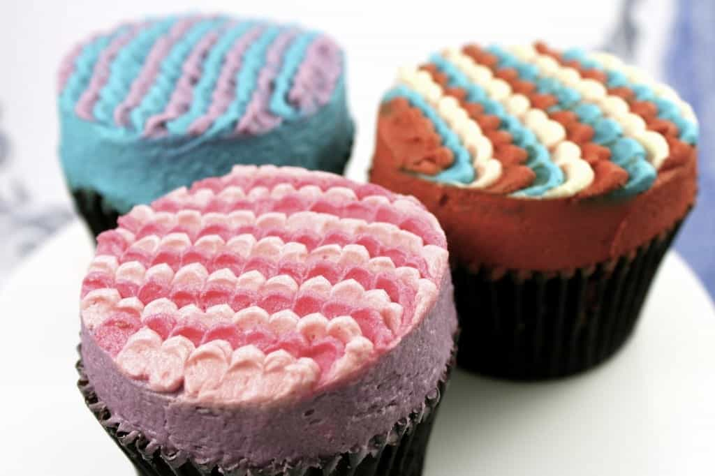 cupcakes with scalloped petal frosting