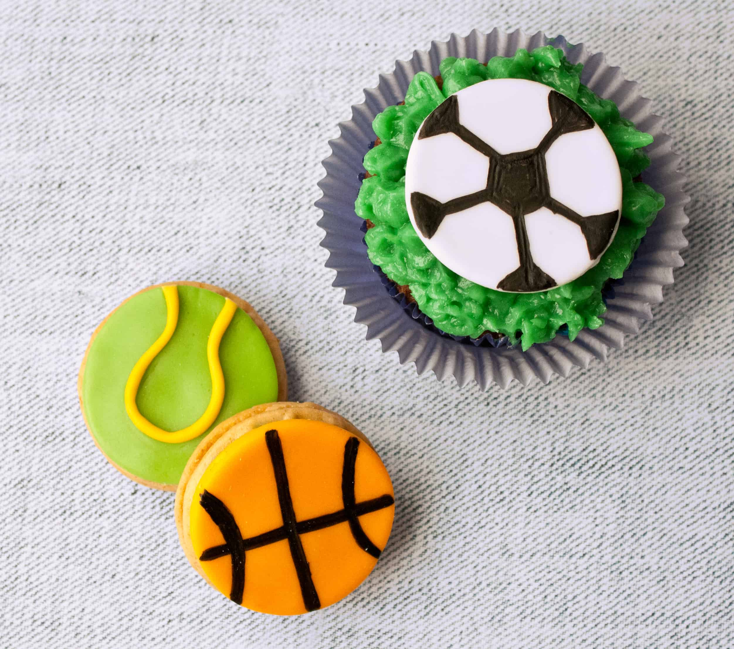 fondant basketball, tennis, soccer balls