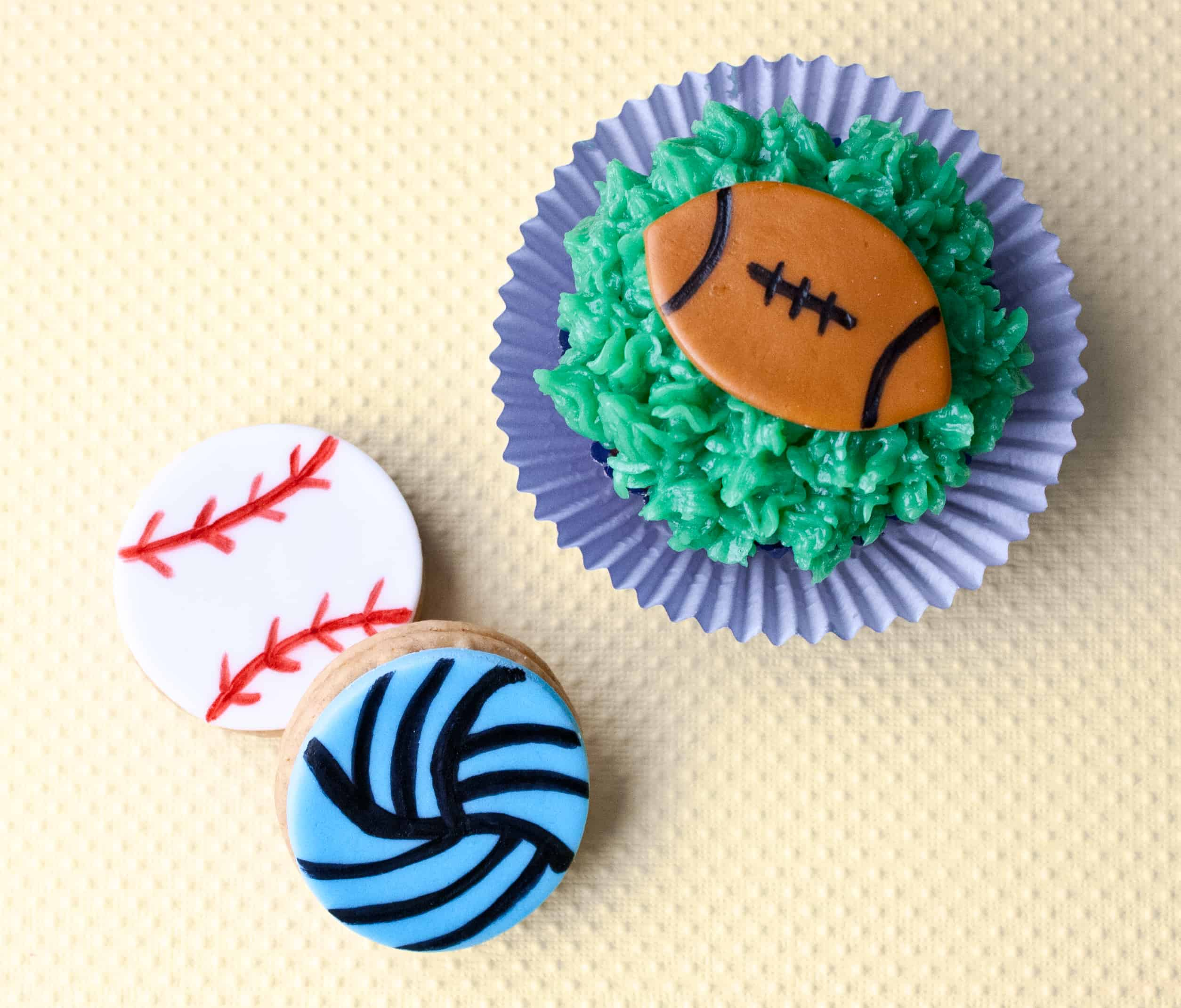fondant baseball, volleyball, & football