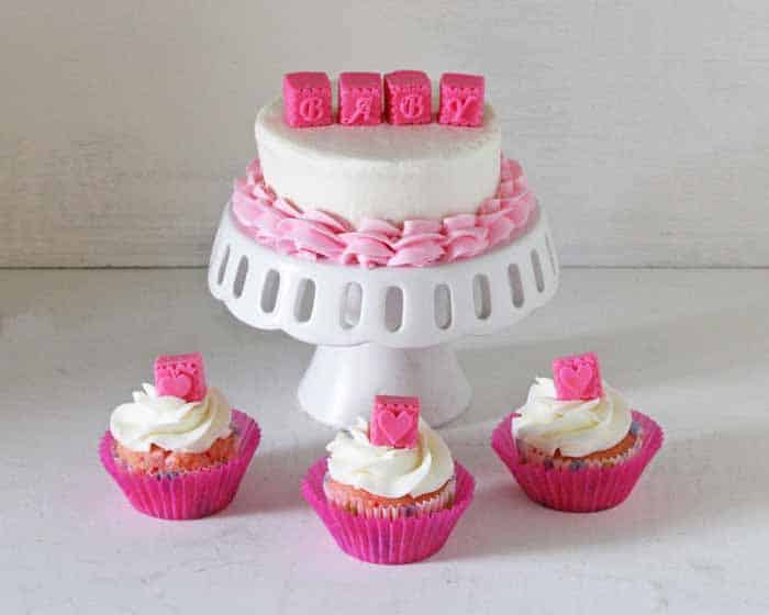 Baby Blocks Cake and Cupcakes