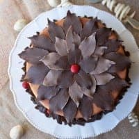 chocolate leaves cake topper