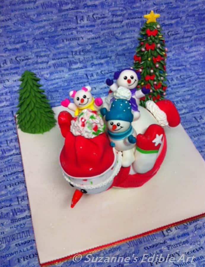 sliding snowman cake