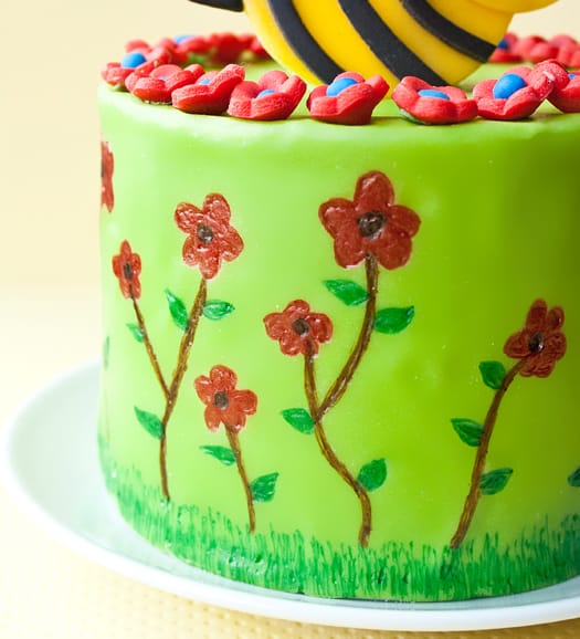 how to draw on a spring themed cake with edible markers 5