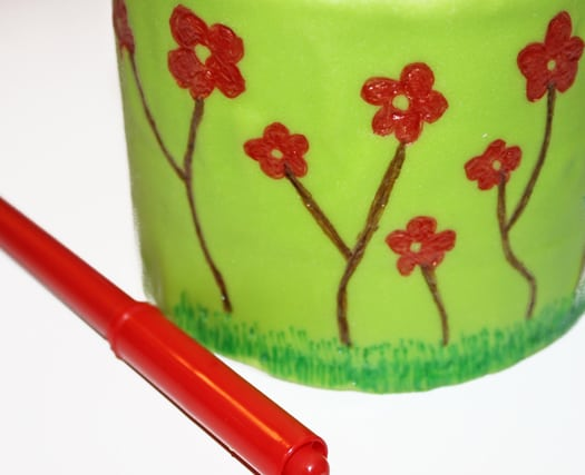 how to draw on a spring themed cake with edible markers 8