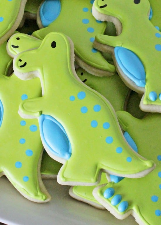 How To Decorate Simple T Rex Dinosaur Cookies