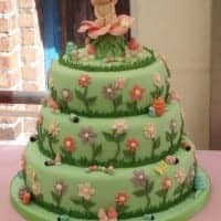 Garden themed christening cake