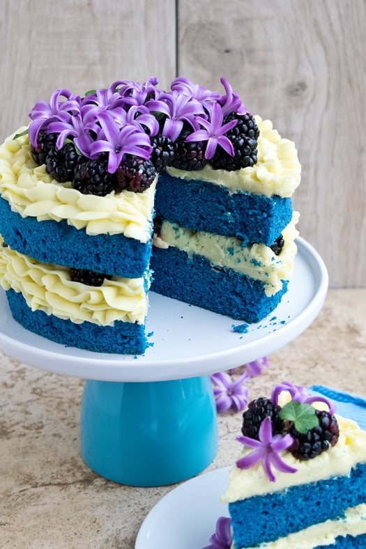 Blue Purple And White Cake With Cupcakes