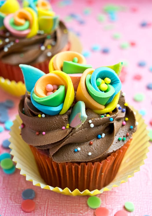 Rainbow Flower Cupcake Toppers