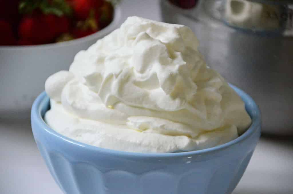 Whipped Cream frosting in Blue Bowl