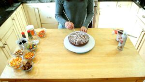 How to make Spider Web Cake process