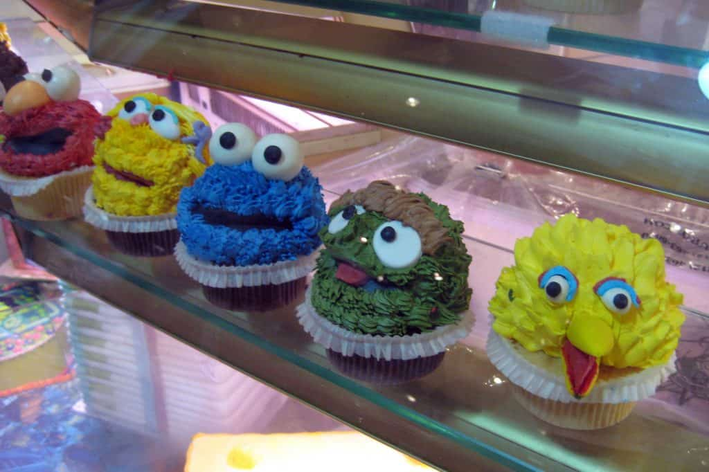 A row of sesame street cupcakes