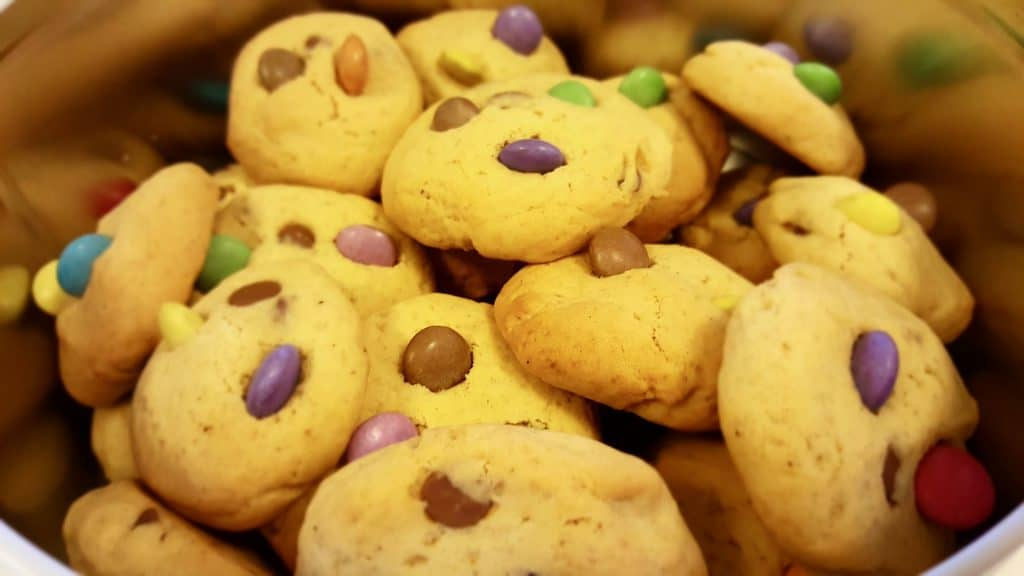 Chocolate chip cookies with M&Ms are another fun easy recipe